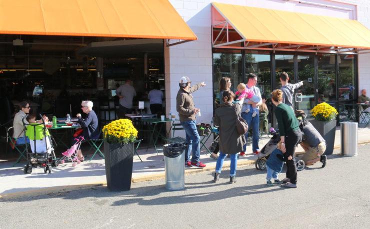 Indoor-outdoor scene at Union market in the NoMa neighborhood