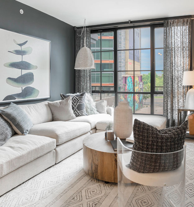 1 bedroom luxury apartment living space at The Belgard