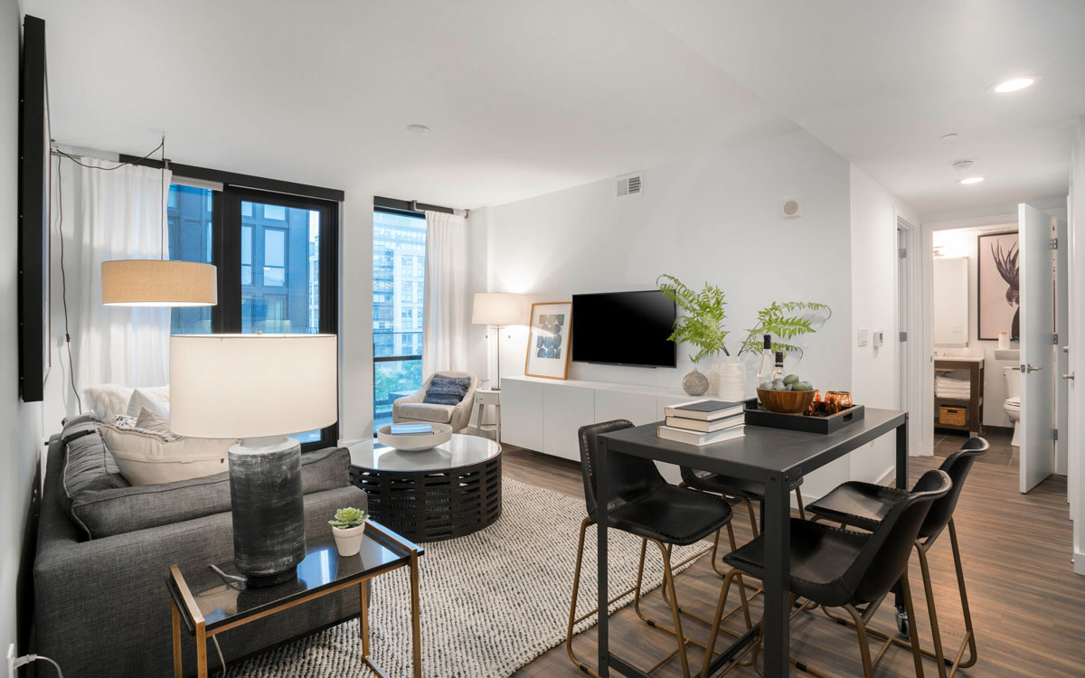 A furnished two bedroom apartment in The Belgard designed by Havenly