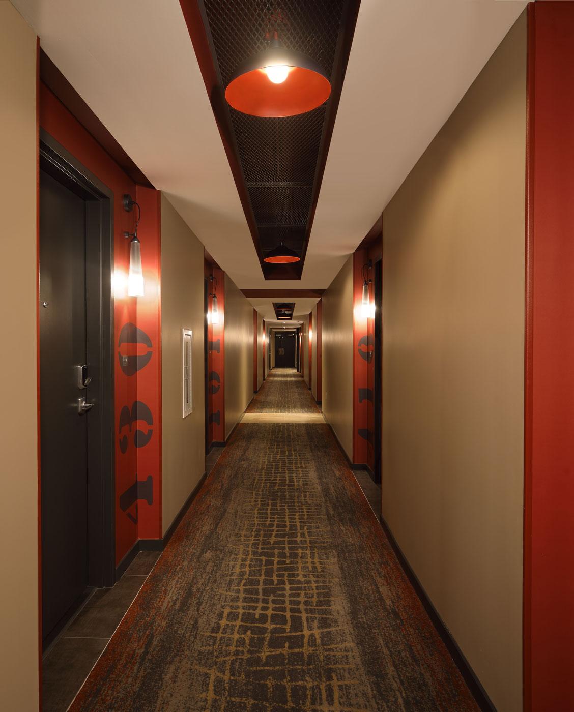 Unique corridors at The Belgard - luxury apartment in the NoMa neighborhood