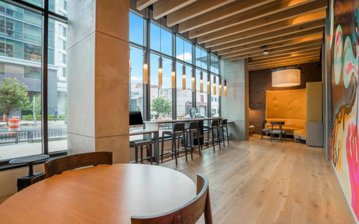 A high-end café at The Belgard residences with Starbucks beverages