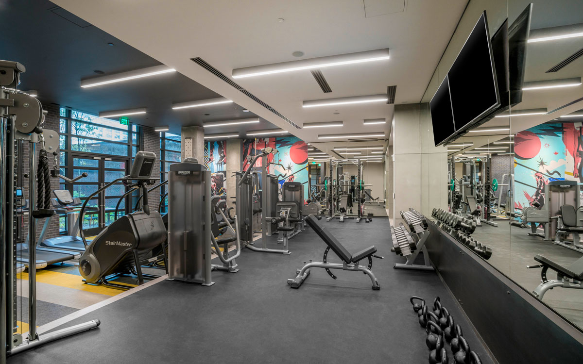 Free weights and fitness equipment at Belgard's new gym.
