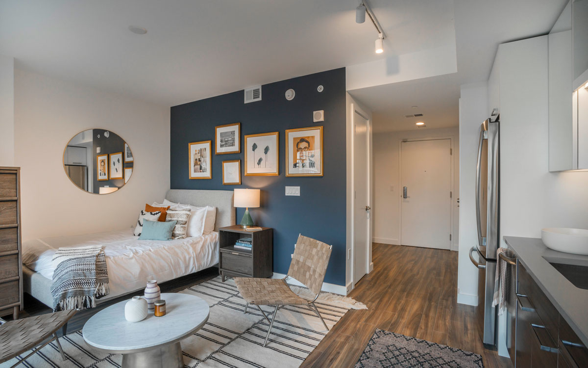 A furnished micro apartment in The Belgard designed by Havenly