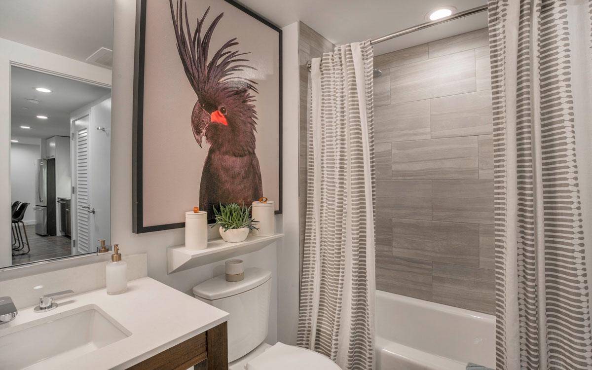 Luxury bathroom with premium finishes in The Belgard apartment